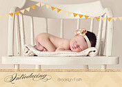 Shimmer Banner Tan Birth Announcements Flat Cards - Front