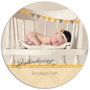 Shimmer Banner Tan Circle Birth Announcements Flat Cards - Front