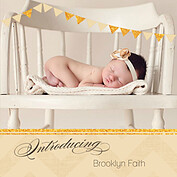 Shimmer Banner Tan Square Birth Announcements Flat Cards - Front