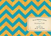 Shimmer Banner Turquoise Birth Announcements Flat Cards - Back