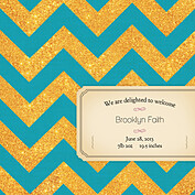 Shimmer Banner Turquoise Square Birth Announcements Flat Cards - Back