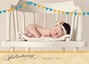 Shimmer Banner Turquoise Birth Announcements Flat Cards - Front