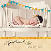 Shimmer Banner Turquoise Square Birth Announcements Flat Cards - Front