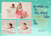 Shining Stars Aqua Green Christmas Flat Cards - Front