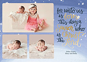 Shining Stars Blue Christmas Flat Cards - Front