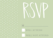 Swiss Dot RSVP Green RSVP Flat Cards - Front