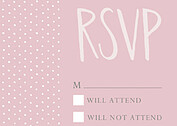 Swiss Dot RSVP Pink RSVP Flat Cards - Front