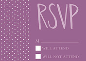 Swiss Dot RSVP Purple RSVP Flat Cards - Front
