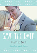 Swiss Dot Date Aqua Save the Date Flat Cards - Front