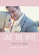Swiss Dot Date Pink Save the Date Flat Cards - Front