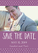 Swiss Dot Date Purple Save the Date Flat Cards - Front
