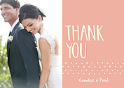 Swiss Dot Thanks Coral Thank You Cards - Front