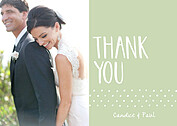 Swiss Dot Thanks Green Thank You Cards - Front