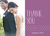 Swiss Dot Thanks Purple Thank You Cards - Front