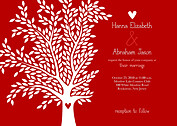 Tree of Love Wedding Invites Flat Cards - Front