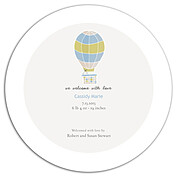 Up and Away Blue Circle Birth Announcements Flat Cards - Back