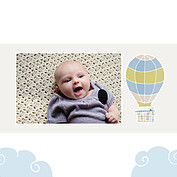 Up and Away Blue Square Birth Announcements Flat Cards - Back