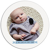 Up and Away Blue Circle Birth Announcements Flat Cards - Front