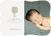 Up and Away Blue Ornate Birth Announcements Flat Cards - Front