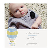 Up and Away Blue Square Birth Announcements Flat Cards - Front