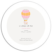 Up and Away Pink Circle Birth Announcements Flat Cards - Back