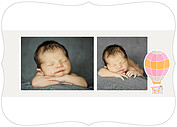 Up and Away Pink Ornate Birth Announcements Flat Cards - Back