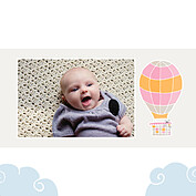Up and Away Pink Square Birth Announcements Flat Cards - Back