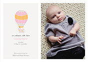 Up and Away Pink Birth Announcements Flat Cards - Front