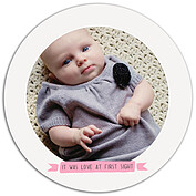 Up and Away Pink Circle Birth Announcements Flat Cards - Front