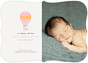 Up and Away Pink Ornate Birth Announcements Flat Cards - Front