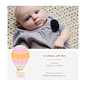 Up and Away Pink Square Birth Announcements Flat Cards - Front