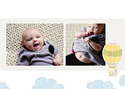 Up and Away Yellow Birth Announcements Flat Cards - Back