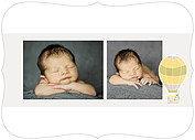 Up and Away Yellow Ornate Birth Announcements Flat Cards - Back