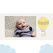 Up and Away Yellow Square Birth Announcements Flat Cards - Back