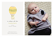Up and Away Yellow Birth Announcements Flat Cards - Front