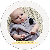 Up and Away Yellow Circle Birth Announcements Flat Cards - Front