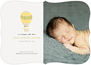 Up and Away Yellow Ornate Birth Announcements Flat Cards - Front