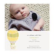 Up and Away Yellow Square Birth Announcements Flat Cards - Front