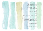Watercolor Invitation Blue Green - Front
