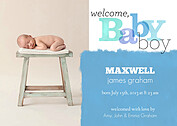 Welcome Baby Boy Birth Announcements Flat Cards - Front