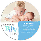 Welcome Baby Boy Circle Birth Announcements Flat Cards - Front