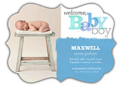 Welcome Baby Boy Ornate Birth Announcements Flat Cards - Front