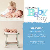 Welcome Baby Boy Square Birth Announcements Flat Cards - Front