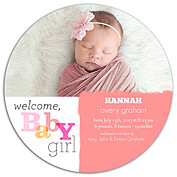 Welcome Baby Girl Circle Birth Announcements Flat Cards - Front