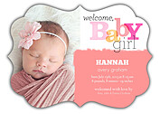 Welcome Baby Girl Ornate Birth Announcements Flat Cards - Front