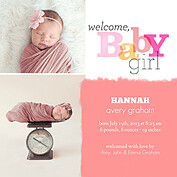 Welcome Baby Girl Square Birth Announcements Flat Cards - Front