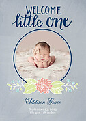 Welcome Little One Gray Birth Announcements Flat Cards - Front