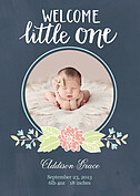 Welcome Little One Navy Birth Announcements Flat Cards - Front