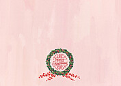 Wreath and Berries Pink Christmas Flat Cards - Back