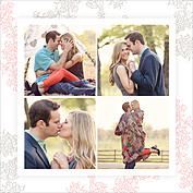 Forever In Love Date Square Save the Date Flat Cards - Back